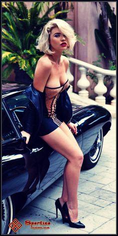 sexy blonde mini dress car