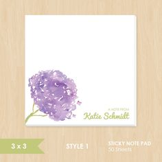 Personalized Sticky Note Pad // Watercolor Hydrangea Flower by k8inked