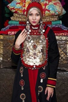 Bashkir Turk Woman in Traditional Dress