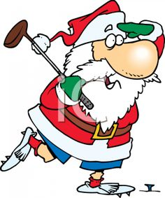 0511-1011-1402-5526_Cartoon_of_Santa_Claus_Playing_a_Round_of_Golf_clipart_image
