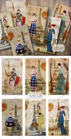Printable Download OLALA Gift tags Digital Collage Sheet Jewelry holders greeting cards, vintage paper for scrapbooking and craft projects