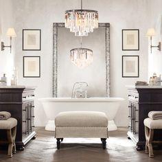 Neutral classical bathroom decoration
