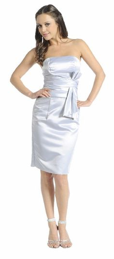 Strapless Silver Bridesmaid Dress Knee Length Poly Satin With Bow $29.99