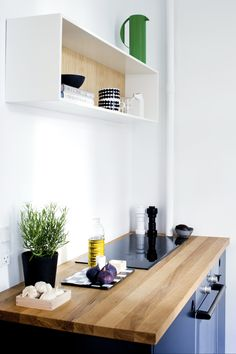 Reform kitchen - black Basis 01 kitchen with solid oak tabletop  www.reformcph.com