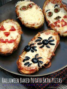 Halloween Baked Potato Skin Pizzas | alidaskitchen.com #recipes #SundaySupper #glutenfree