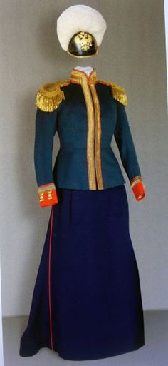 Uniform of the 5th Kazansky Dragoons : Grand Duchess Maria received her regiment in the year 1912 - the uniform colors were dark green and blue with a red and white trim (tunic)