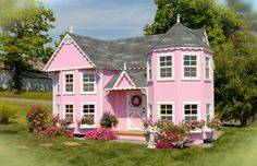 Little Cottage Company Sara's 8x16 W Victorian Mansion DIY Kit Playhouse
