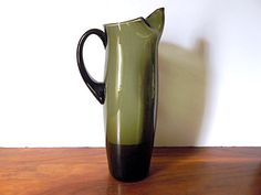 Midcentury Modern Holmegaard Style Glass Martini Pitcher: Green, Morgantown Glass