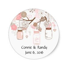 Pink Country Mason Jar Stickers