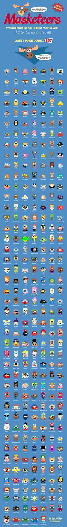 Here's over 300 printable masks that you can use for story telling and ...