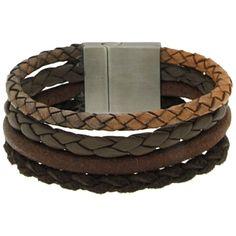 Brace heren armband Leer met RVS BR239005 - Leren armbanden - Armbanden - Heren sieraden » Lookinggoodtoday.com
