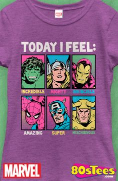 Junior Marvel Feelings Shirt: Marvel Comics Juniors T-Shirt  These popular celebrity superheroes have been seen in books, films and videos.  Great design, art and illustration.