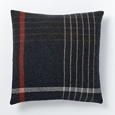 Faribault Grid Plaid Pillow Cover - Heather Shadow #westelm $79 and get monogrammed