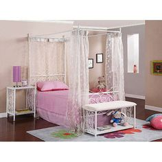 Canopy Wrought Iron Princess Bed, White