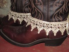 Tea Stained Lace Boot Bracelets/ Cowgirl Wedding /Western Wear Accessories/ / Anklets/ Boot Sweets/ Lace Cuffs by TheMaidensFlower on Etsy https://www.etsy.com/uk/listing/181912942/tea-stained-lace-boot-bracelets-cowgirl