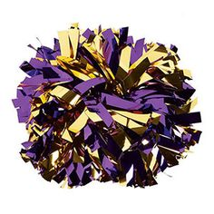 NEW! IN-STOCK Metallic Gold and Purple Baton Handle Pom  by Cheerleading Company