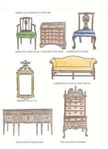 Georgian Furniture Style Georgian furniture: sketch of various furniture designs