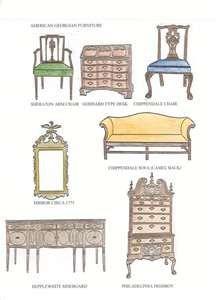 Georgian Furniture Style Georgian furniture: sketch of various furniture designs Types Of Furniture, Classic Furniture, Furniture Styles, Modern Furniture, Home Furniture, Furniture Design, Modern Dresser, Simple Furniture, Furniture Logo