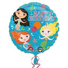 """Niedlicher Ballonmit Meerjungfrauen Motiv und dem Schriftzug """"Happy Birthday"""", von Anagram.  Der Folienballon hat ein Durchmesser von ca. 43 cm."""