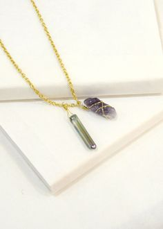 Aurora: Focal Point Necklace 2 Amethyst and Aurora by SuedeTurtle. This necklace would be perfect with a plain white T, blazer & jeans.