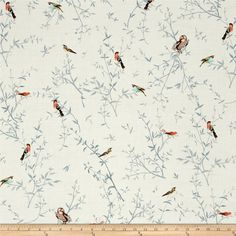 Kaufman Woodland Clearing Birds in Branches Ivory from @fabricdotcom  Designed by Liesl Gibson for Robert Kaufman, this nature inspired cotton print fabric is very lightweight, similar to a voile. It is perfect for quilting and apparel. Colors include black, ivory, brown, pink, coral, blue, grey, green, peach, teal, aqua and yellow.