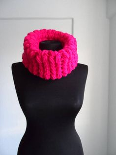 Knit accessories Chunky cowl scarf Crochet cowl scarf Fuchsia
