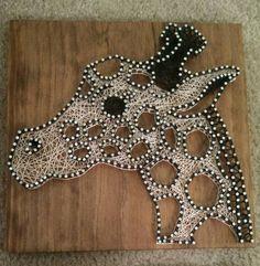 3 Panel Giraffe Nail and String Art Original by brokenwingArts
