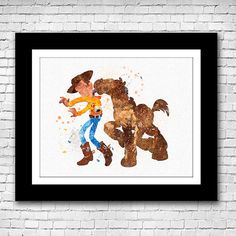 Disney Pixar Toy Story Woody and Bullseye abstract by Shireprints