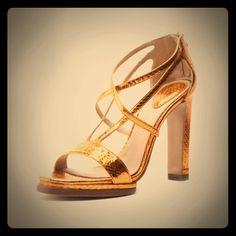 "CHLOE Size 41 in box Platform Sandals heels CHLOE Python Platform Sandals Metallic bronze snakeskin upper Slightly worn. Open toe, Back zipper, Leather sole 4.5"" heel, .5"" platform/ size 41 Made in Italy authentic Chloe Shoes Heels"