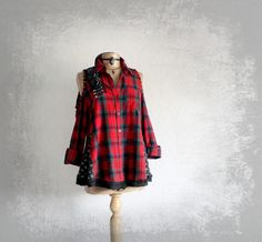 Red Plaid Shirt Cut Out Shoulders Goth by BrokenGhostClothing