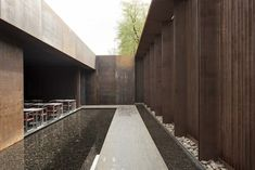 Sunken courtyard/pond opening off interior space Coreten walls Musée Soulages by RCR Arquitectes with Passelac & Roques Arquitectes in Rodez, France, Architecture Résidentielle, Amazing Architecture, Contemporary Architecture, Arch Building, Building Exterior, Museum Plan, Patio Interior, Urban Planning, Minimalist Home