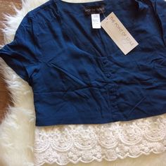 "Navy & Lace Crop Top Navy cotton crop top with lace trim. Size Large with 40"" bust. New with tags. No trades, offers welcome. Tops Blouses"