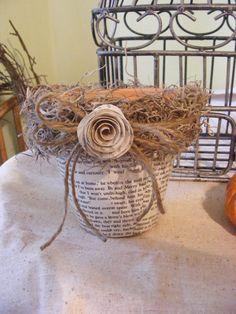 Book Page & Moss Flower Pot