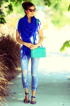 Jeans & scarf & white tee -- but that royal blue scarf and sandal, cute