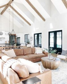 18 Vaulted Ceiling Designs That Deserve Your Attention Modern Farmhouse Living Room Attention ceiling Deserve Designs Vaulted Build Your Own House, House Design, Home Living Room, Farm House Living Room, House, Home, Home Remodeling, House Interior, Home And Living