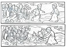 Great short series of cartoon images to teach children the story of Matthew 14:22-23. Black and white so they can color them in!