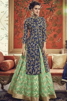 Shop Blue and Green Banarasi Silk Embroidered Lehenga online (SKU Code : at Ishimaya. Latest party wear suits, Straight cut suits online , designer straight suits and more for parties & family wedding functions. Choli Designs, Lehenga Designs, Kurta Designs, Blouse Designs, Jacket Lehenga, Lehenga Style, Silk Lehenga, Lehenga Suit, Anarkali Suits