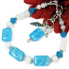 Ocean-Inspired Bracelet with Blue Czech Glass & White Quartz, Seashell Charm,