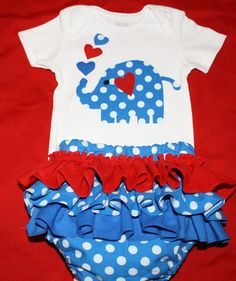My Little Blue Elephant Heart Onesie & matching by AllAboutTheGlam, $25.00