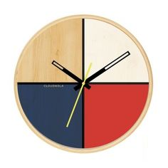 Contemporary birch wood wall clock in a beautiful combined palette of colours, designed by Nanda Jansen of Lorkees for Cloudnola Clocks. Projector Wall, White Wall Clocks, Diy Clock, Furniture Design, Sweet Home, House Design, Contemporary, Home Decor, Tables