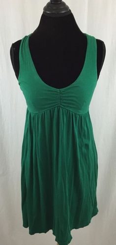 Lilka Dress Emerald Green Blue Polka Dot Tie Cotton Above Knee Sundress L | eBay