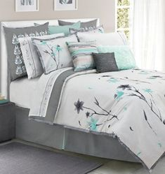 Teal and grey floral bedding for spare bedroom one day?