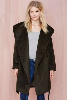Alexia Shaggy Coat - Khaki | Shop Jackets + Coats at Nasty Gal