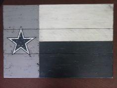 Dallas Cowboys wood flag--handmade from rustic cedar planks