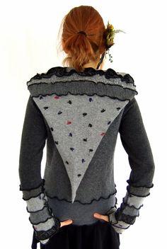 Grau Pixie hOOdie  Pullover-Sweater  klein Mittel von Fairytea
