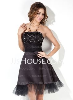 Cocktail Dresses - $96.29 - A-Line/Princess Strapless Short/Mini Satin  Tulle Cocktail Dresses With Ruffle  Beading (016002430) http://jjshouse.com/A-Line-Princess-Strapless-Short-Mini-Satin-Tulle-Cocktail-Dresses-With-Ruffle-Beading-016002430-g2430