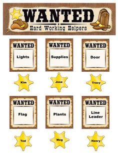 """Carry out a Western theme as you track students who are """"wanted"""" for specific classroom jobs or reward studens who are """"wanted"""" for displaying positive behavior. Header measures 21"""" x 6"""". Includes 8 wanted posters, 35 sheriff badges, and a teacher's guide.This product is acid-free per industry standards; contact us for technical information."""