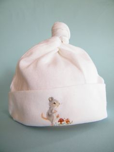 Newborn baby cap  hand painted cotton hat  by Thedinkydoodlestudio