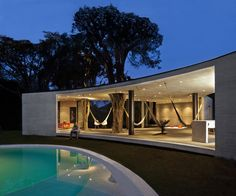 Tepoztlan Lounge by Cadaval & Solà-Morales. Love the sheltered hammock structure, especially with the trees incorporated.
