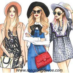 Fashion Illustrations of street fashion by Houston fashion Illustrator Rongrong DeVoe, more fashion sketches at www.rongrongdevoe.com